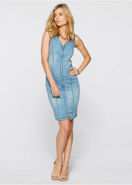 3b43cf773197 Τζιν φόρεμα με φερμουάρ Μπλε ξεβαμμένο bpc selection bonprix collection