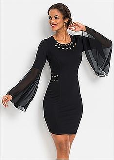 Φόρεμα με μεταλλικούς δακτυλίους και σιφόν μανίκια BODYFLIRT boutique 37 884bb81fa25